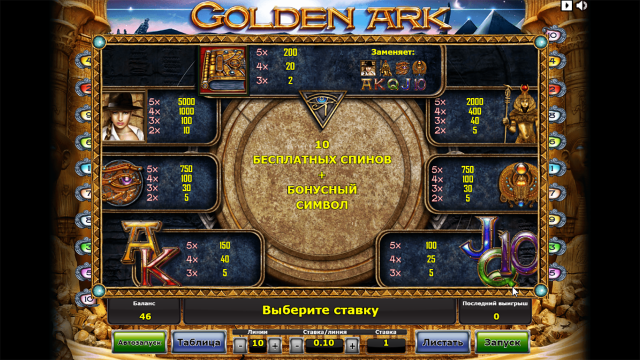Характеристики слота Golden Ark 5